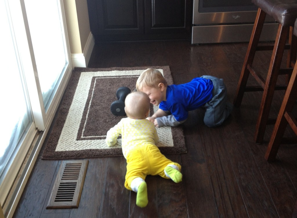 Baylen and Mack on floor